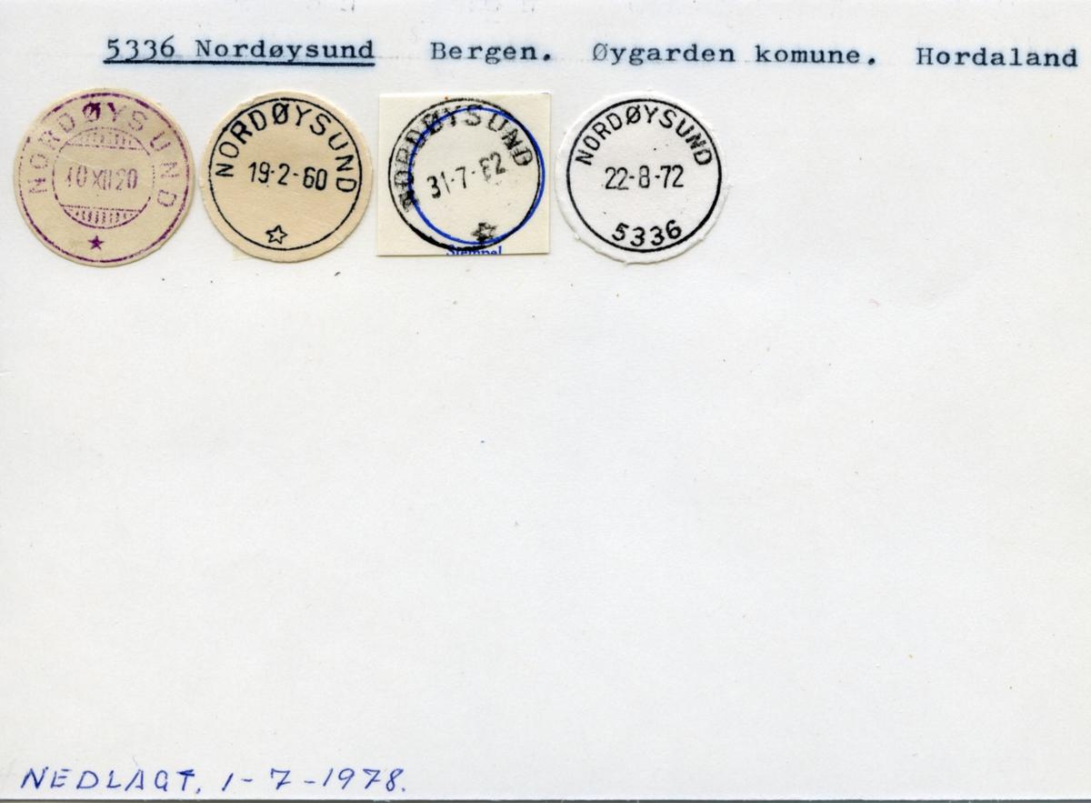 Stempelkatalog. 5336 Nordøysund. Bergen postkontor. Øygarden kommune. Hordaland fylke.