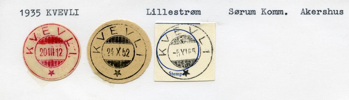 Stempelkatalog 1935 Kvevli, Lillestrøm, Sørum, Akershus