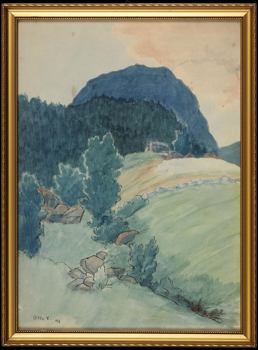Landskap, grønn bakke m. hus, skog, blå kolle, rosa og lysblå himmel
