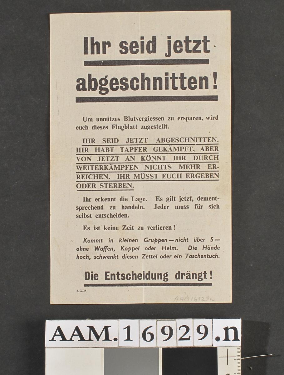 Ark med beskrivelse av vilkår for tyske krigsfanger.