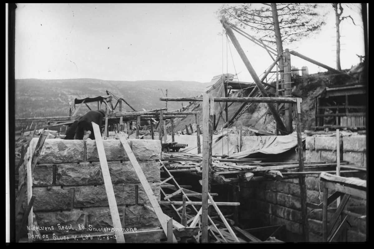 Arendal Fossekompani i begynnelsen av 1900-tallet CD merket 0446, Bilde: 40 Sted: Småstraumene Beskrivelse: Regulering