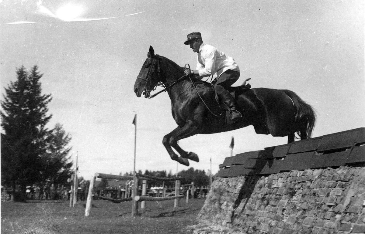 Ridestevne. Sprangridning - Hest og rytter over hinder.