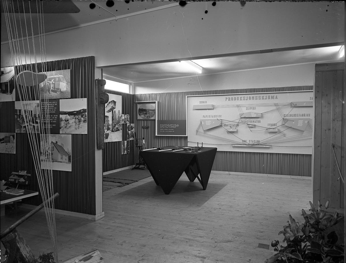 Fra Eidsvoll Bygdeutstilling i 1955. Stand for Cellulosefabrikk. Produksjonsskjema. Fra skog til cellulose.