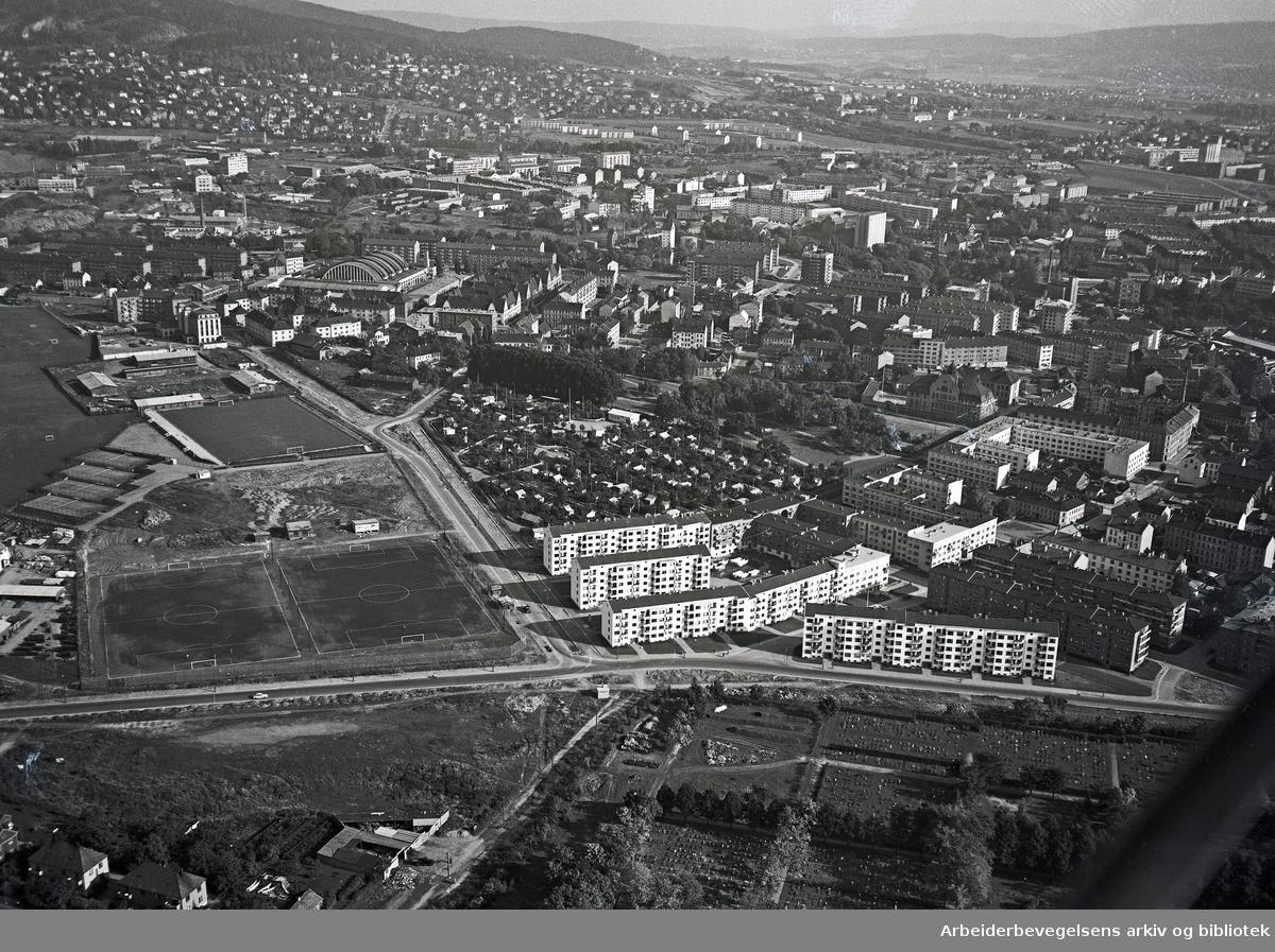 Flyfoto over Voldsløkka,.oktober 1951