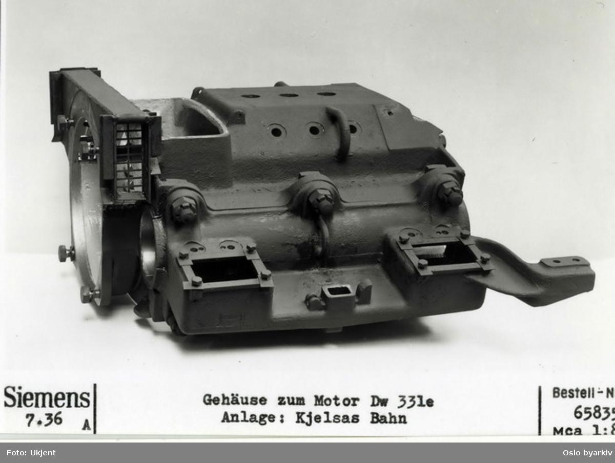 Gullfisk, trikk: Motor, signert Siemens, Dw 331 e. Bestilt for Kjelsåsbanen.