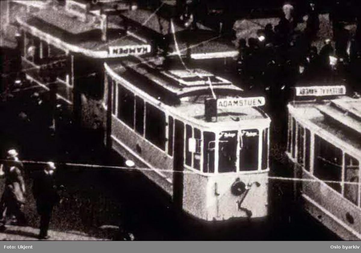 Oslo Sporveier. Trikk motorvogn (fra 1899) type AEG nr. 1, den opprinnelige nr. 1. Bilde tatt en gang mellom 1930-1938.