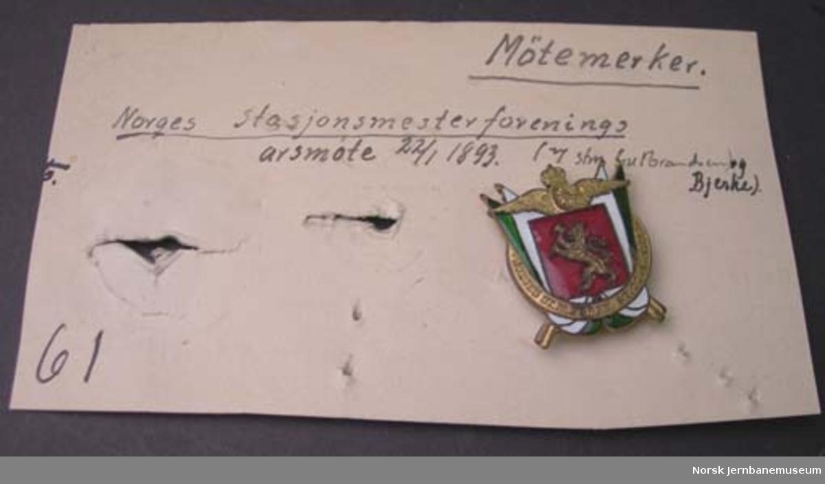 Møtemerke : Norges stasjonsmesterforenings årsmøte 22.1.1893