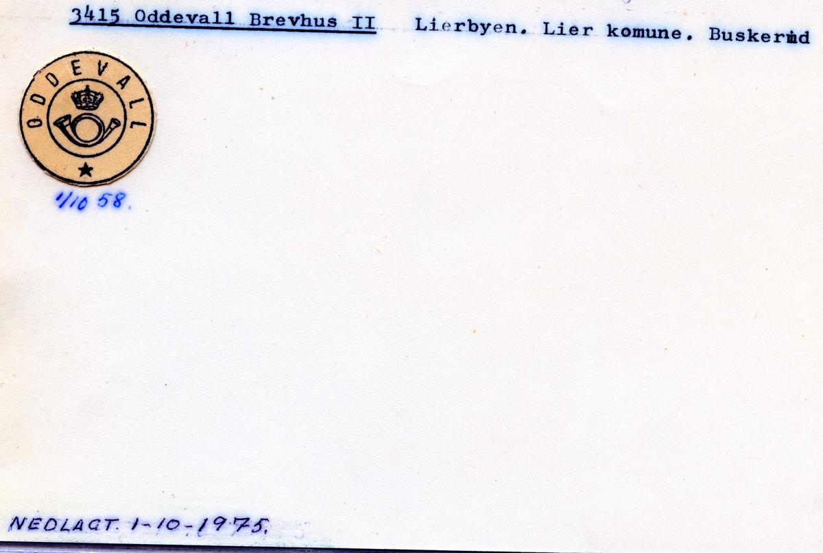 Stempelkatalog  3415 Oddevall, Lier kommune, Buskerud