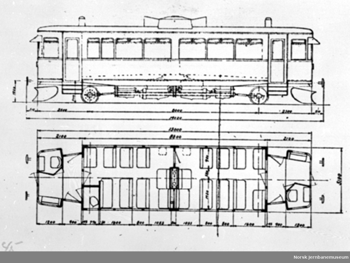 Bensinmotorvogn litra Cm type 14, typetegning