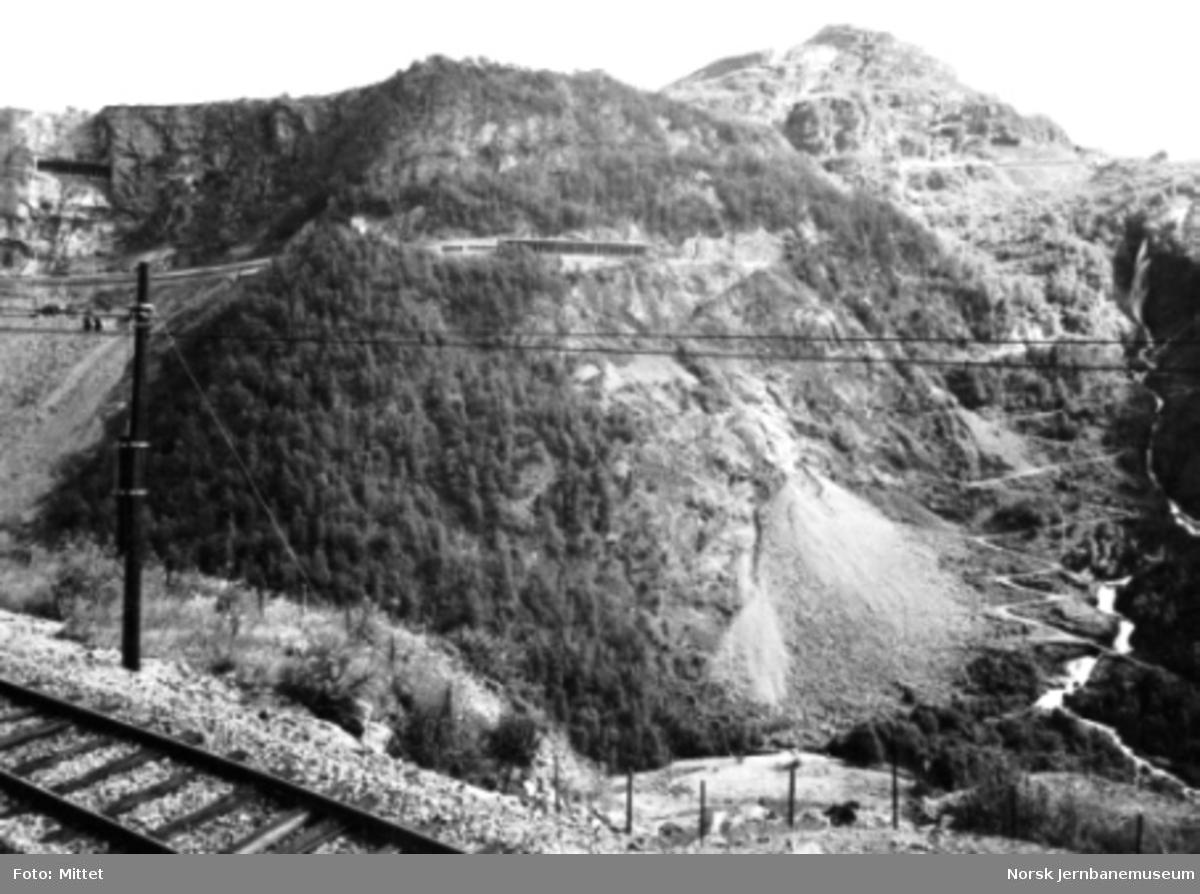 Flåmsbana med utsikt mot Flåmsdalen og Myrdal i bakgrunnen
