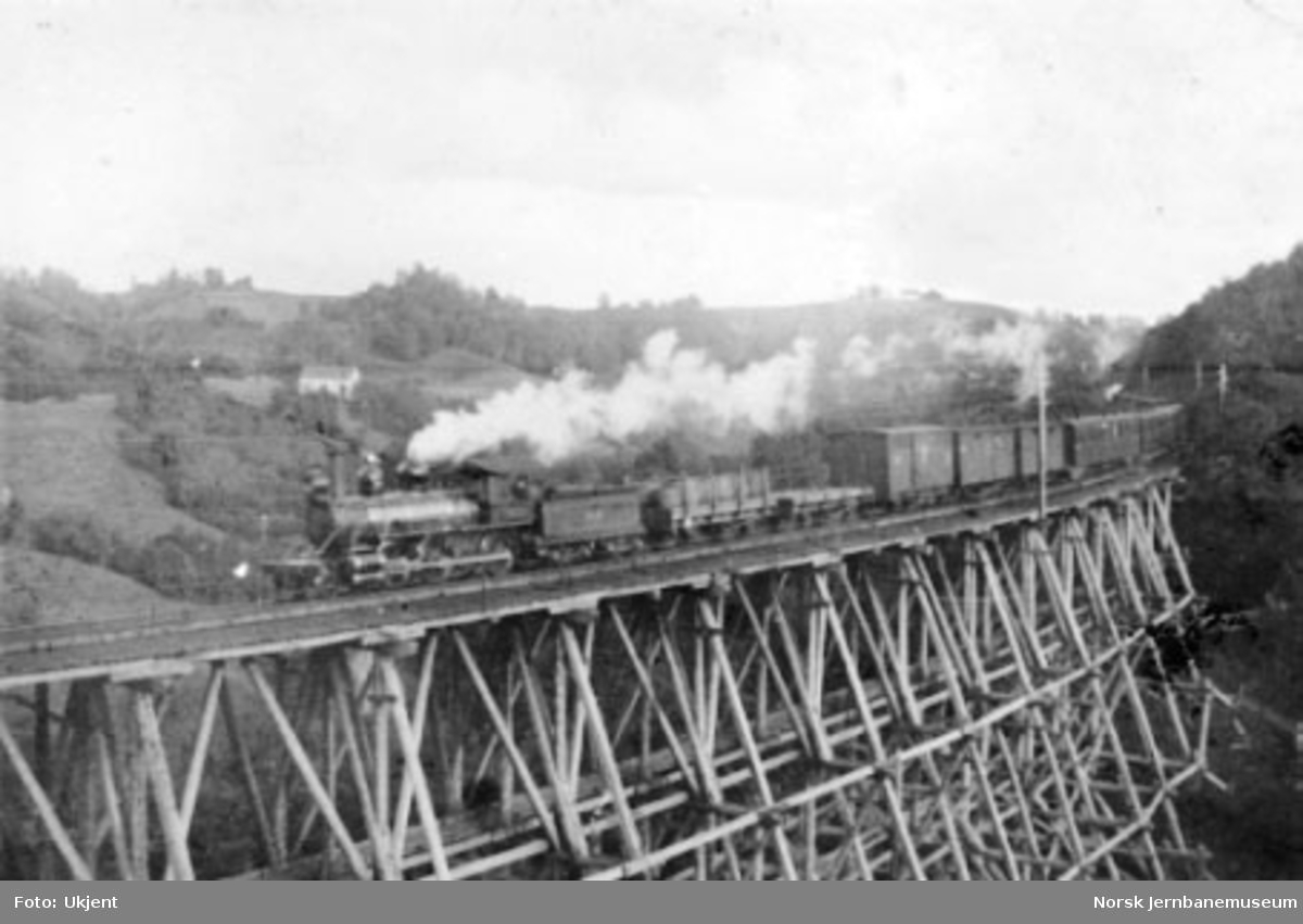 Damplokomotiv type XVIII med blandet tog på Oxstadøi viadukt (Liabrua)