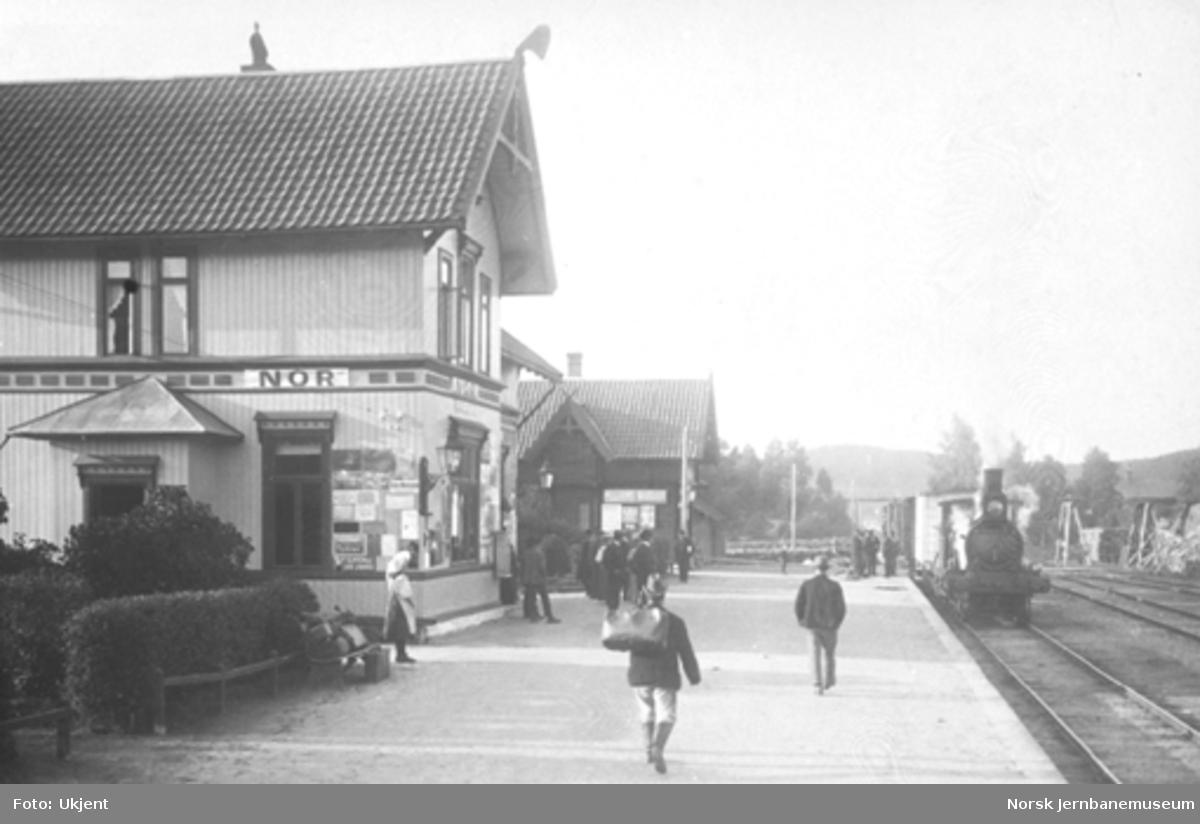 Et tog trukket av damplok type 9a ankommer Nor; reisende på plattformen