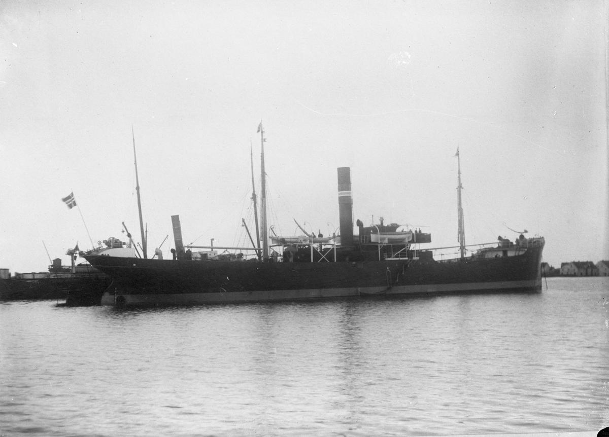 """Dampskipet D/S """"Eva"""" med deler av landskapet ankret opp. Sjøhus i bakgrunnen til høyre."""