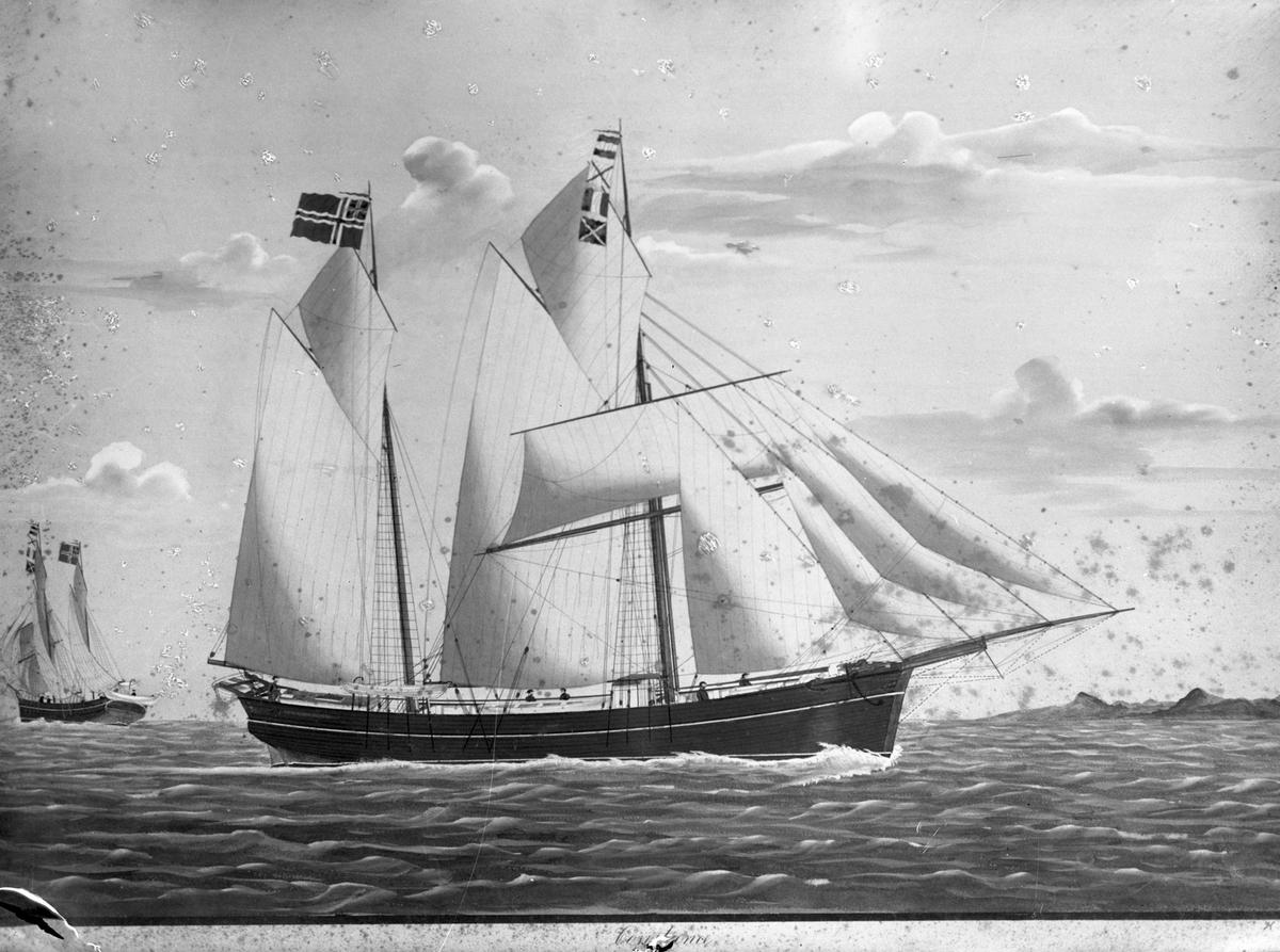 """Avfotografert maleri av galeasen """"Costance"""""""" for fulle seil i åpent farvann. Deler av mannskapet på dekk, bau og akter. Annet skip til venstre i bakgrunen.  Land i til høyre i bakgrunnen."""