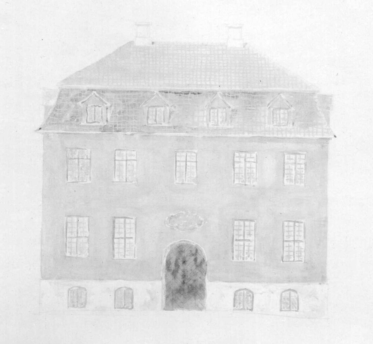 Utkast til nybygg på Norsk Folkemuseum. Ide av Hans Aall, tegnet av Dicta Haslund.