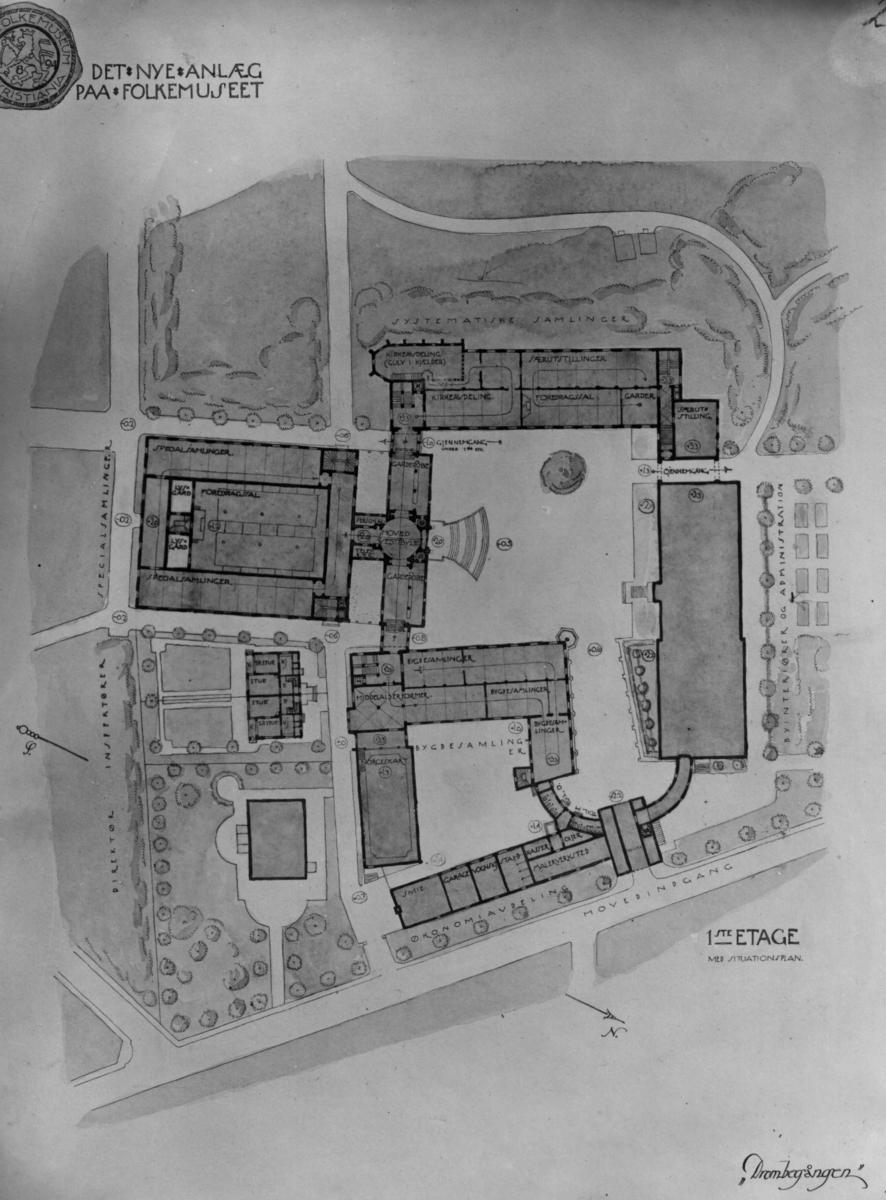 Situasjonsplan fra arikitektene Bjercke og Eliassen. Første etasje.