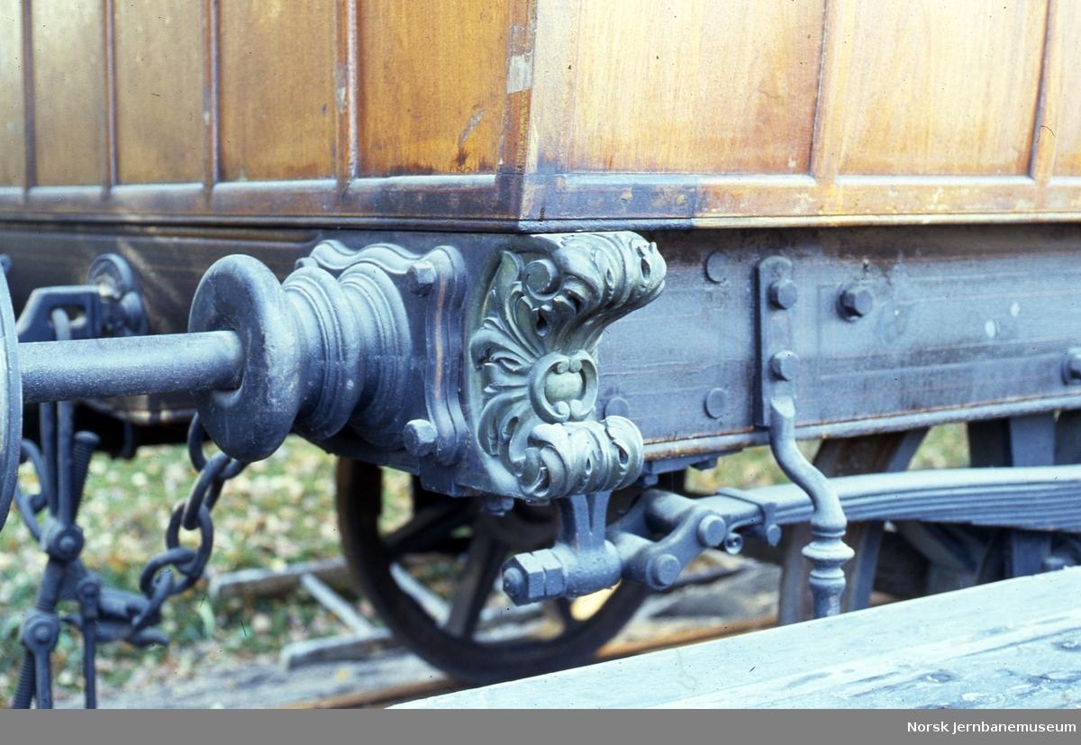 Kongsvingerbanens kongevogn, detalj av bufferbjelke og buffer