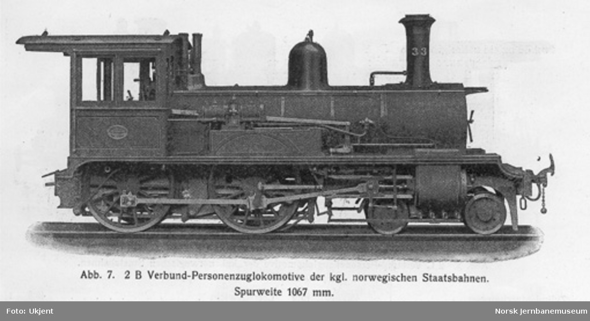 Leveransefoto av damplokomotiv type XIII nr. 33 fra Sächsische Maschinenfabrik; lokomotivet